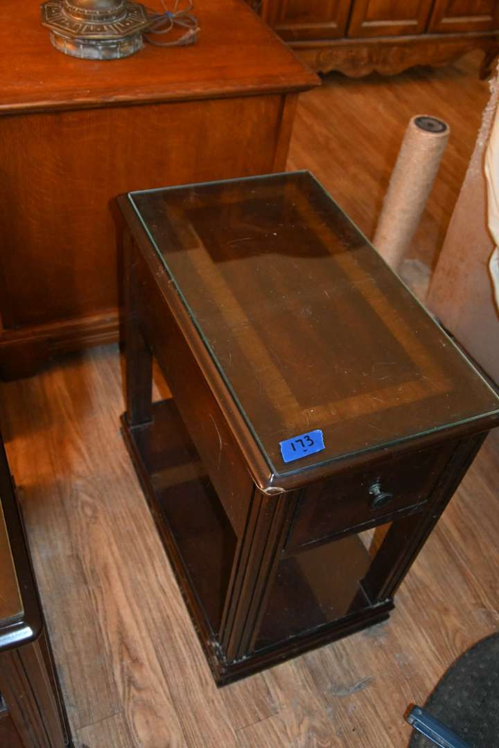 Lot # 173 Side table with pull out drawer & glass top