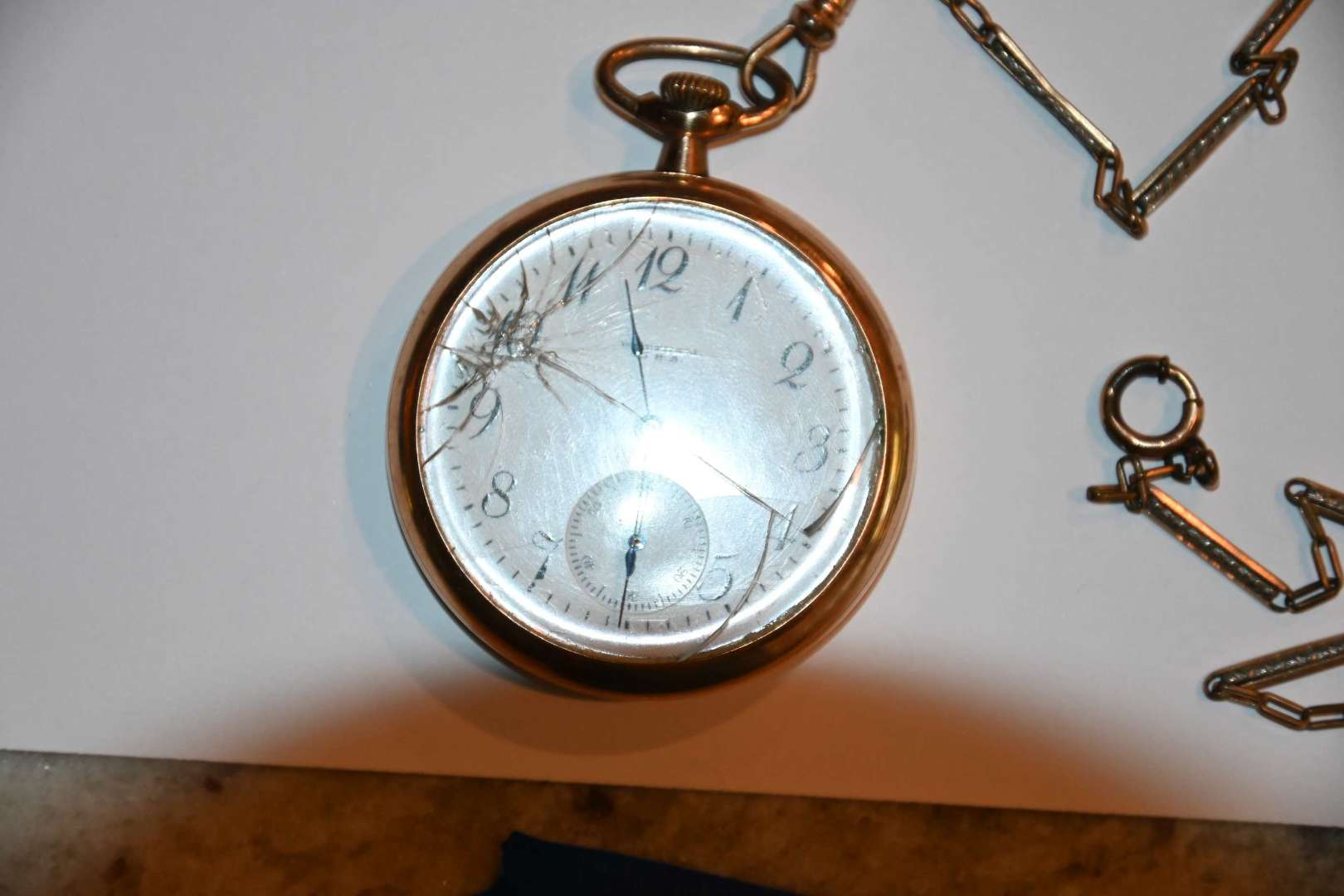 Lot # 181 WALTHAM 1917 pocket watch JBOSS 25 year GF case and gold filled chain