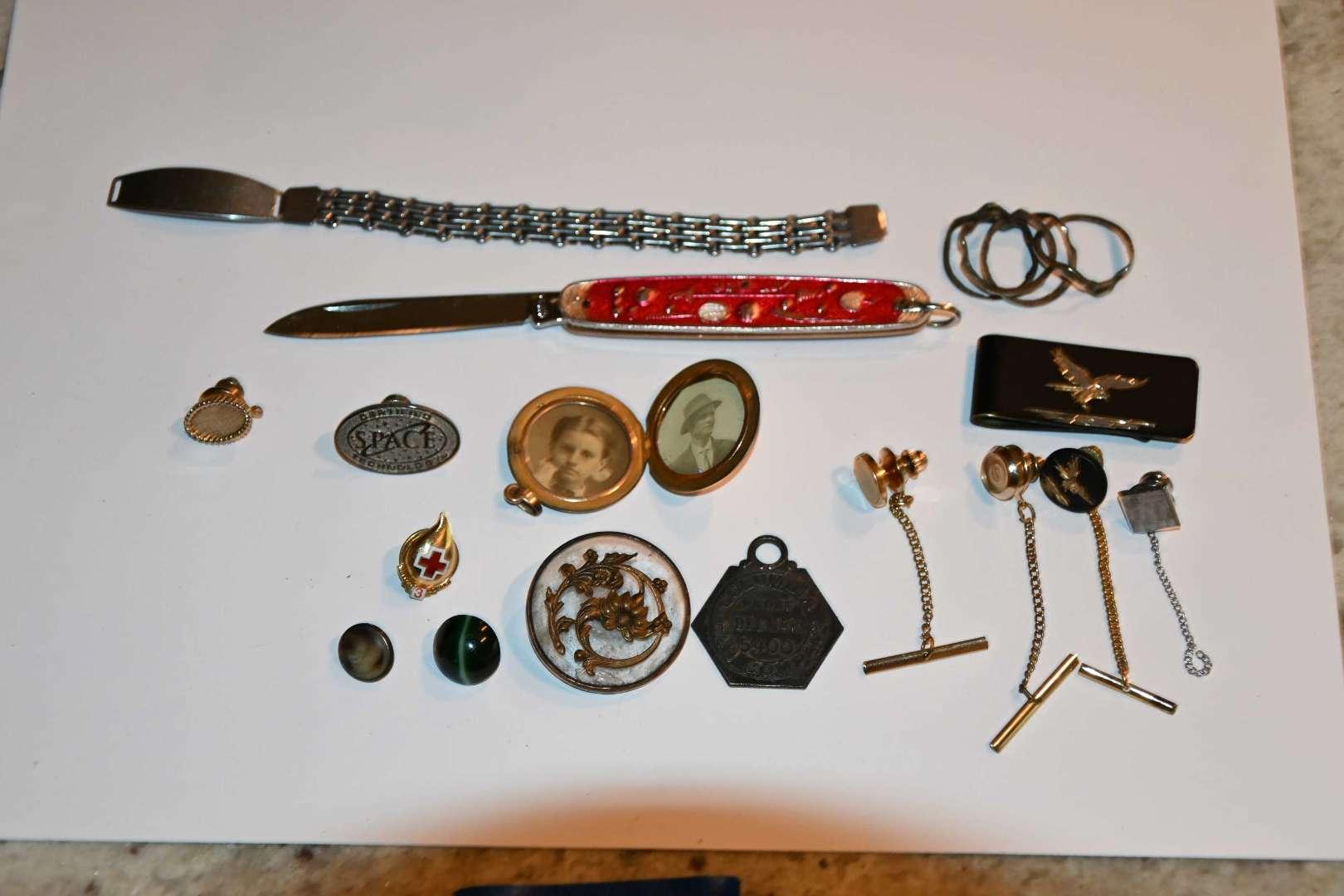 Lot # 184 Glass victorian button, vintage TAXI pendant, misc...