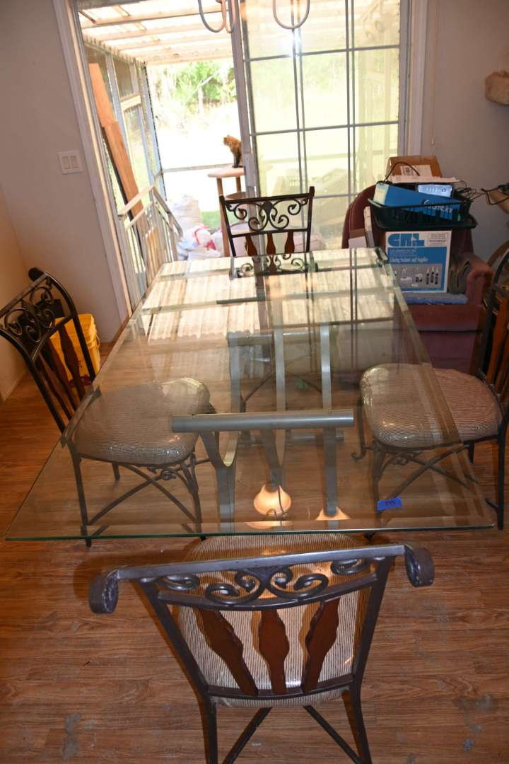 Lot # 195 Dining room table metal base glass top 5 chairs