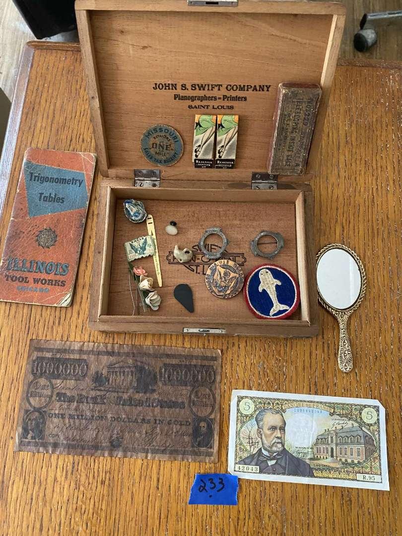 Lot # 233 John Swift cigar box (Imported C U B A) with grandpa's stuff