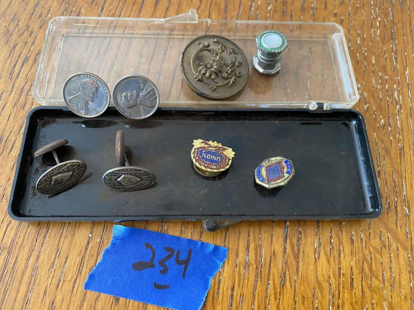 Lot # 234 Vintage 1919 wheat penny plated cufflinks, misc...