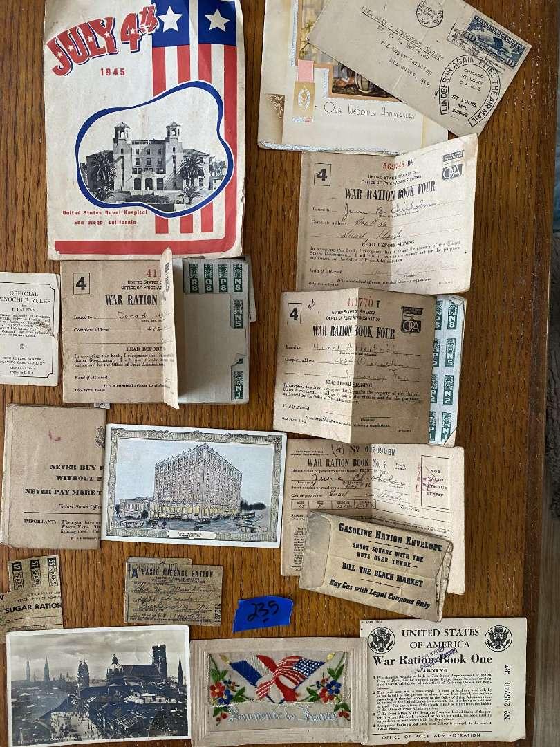 Lot # 235 WWII ration books, ephemera, misc..