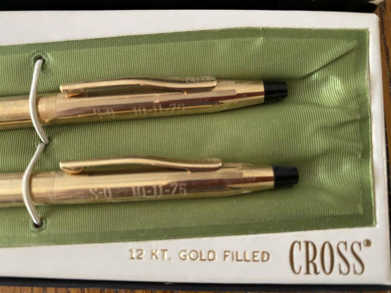 Lot # 236 CROSS 12KT Gold filled pen/pencil set in box