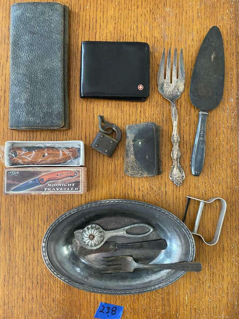 Lot # 238 Leather wallets, vintage YALE lock, silverplate, misc..