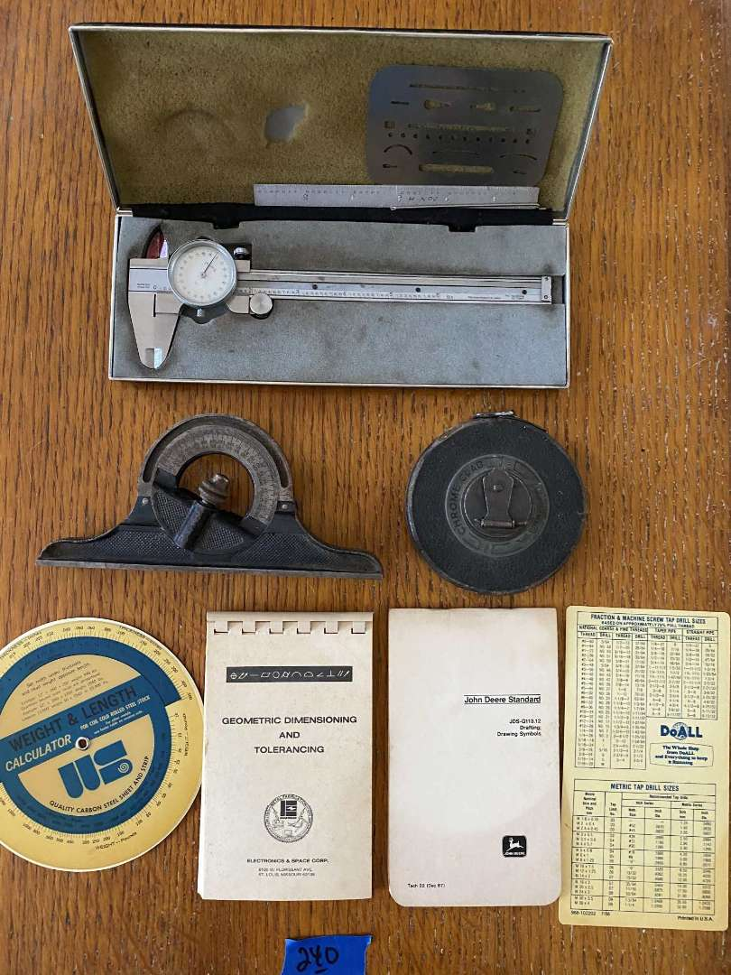 Lot # 240 Caliper, vintage L.S.S. Co. level, LUFKIN tape measure, misc...