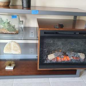 Auction Thumbnail for: Lot # 18 Absolutely Stunning Entertainment Center W/ Built-In Fireplace Heater W/ Remote