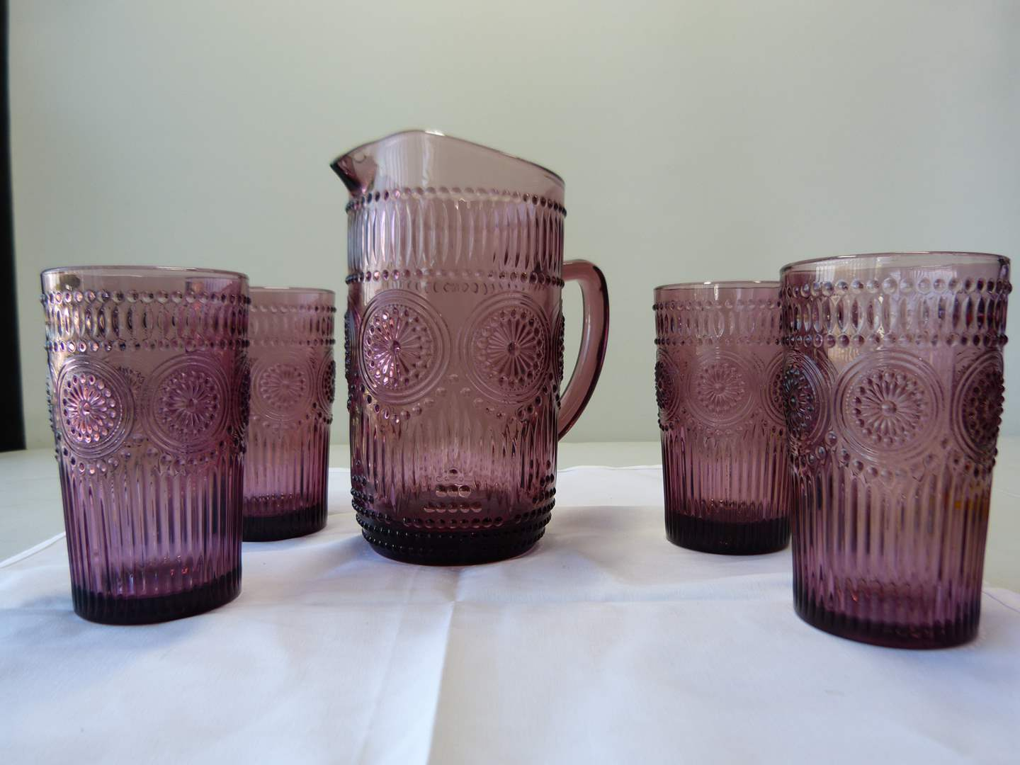 "Lot # 2  GREAT ""The Pioneer Woman"" amethyst pitcher & 4 glasses.  (Perfect Condition) (main image)"
