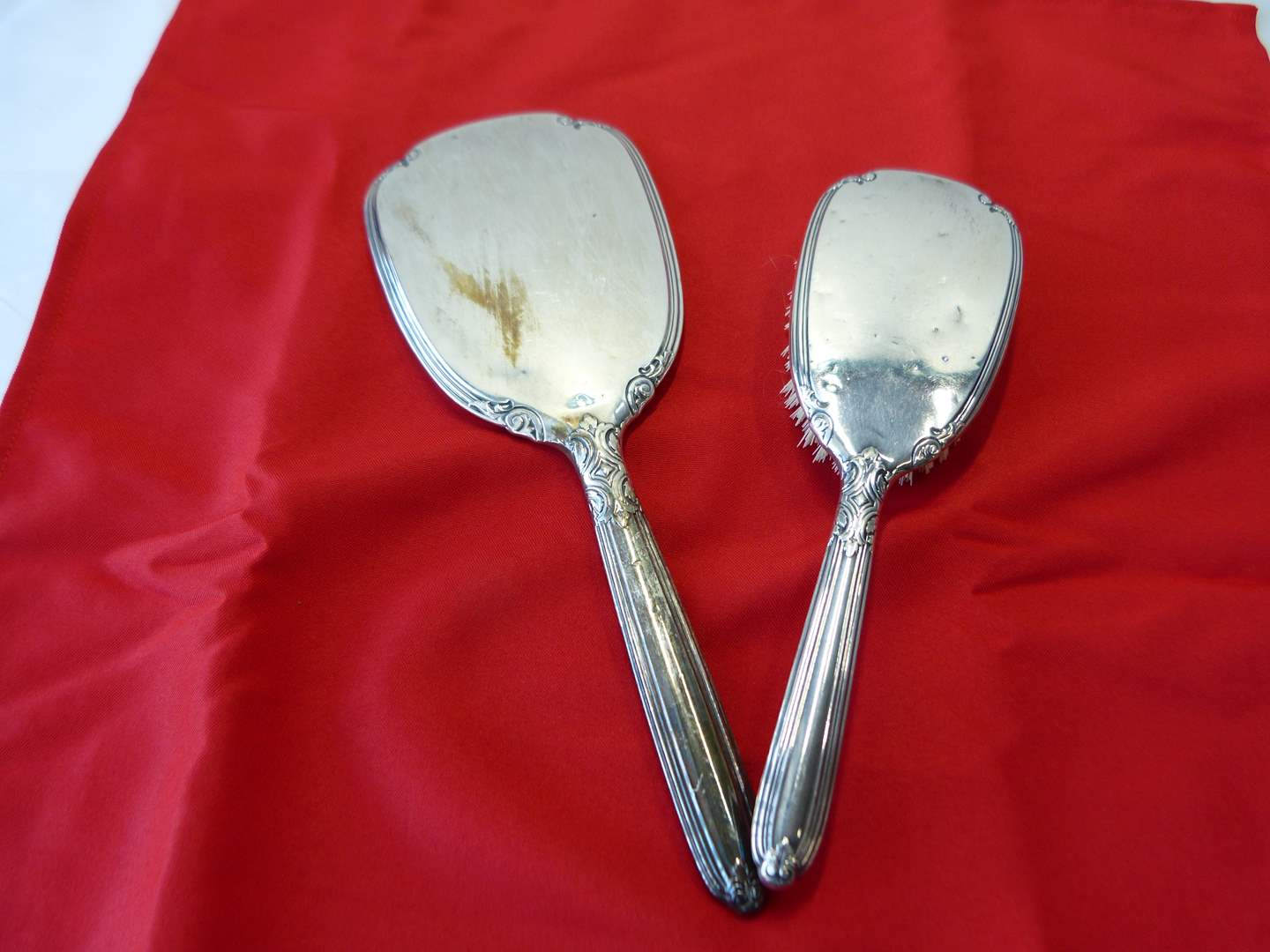 Lot # 4  Antique STERLING silver mirror & brush (does have some dings consistent with age) (main image)