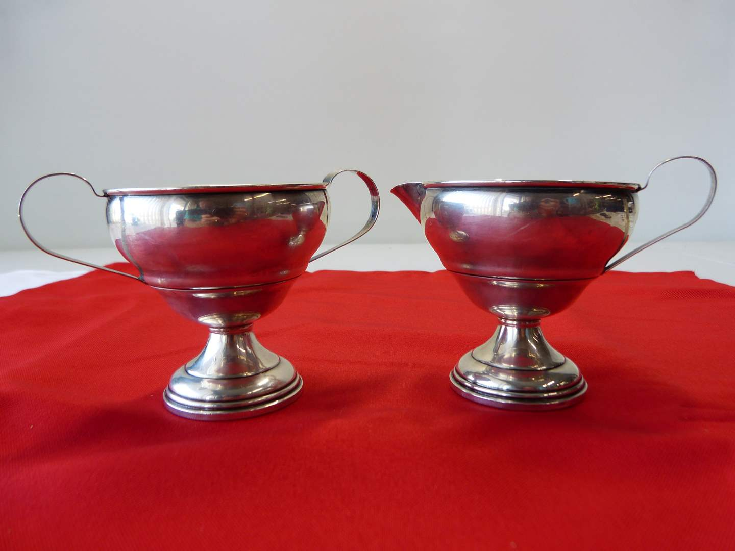 Lot # 6  HEAVY pair STERLING silver creamer & sugar (weighted but heavy sterling) good condition (main image)
