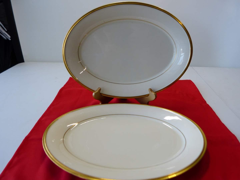 "Lot # 17  2 Lenox Eternal Gold & cream 14"" platters (nice condition) (main image)"