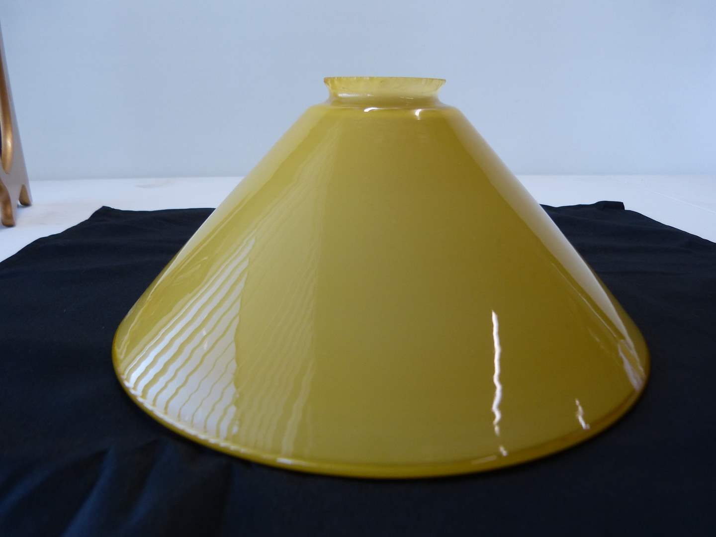 Lot # 20  Great vintage caramel to white cased glass students lamp shade (main image)