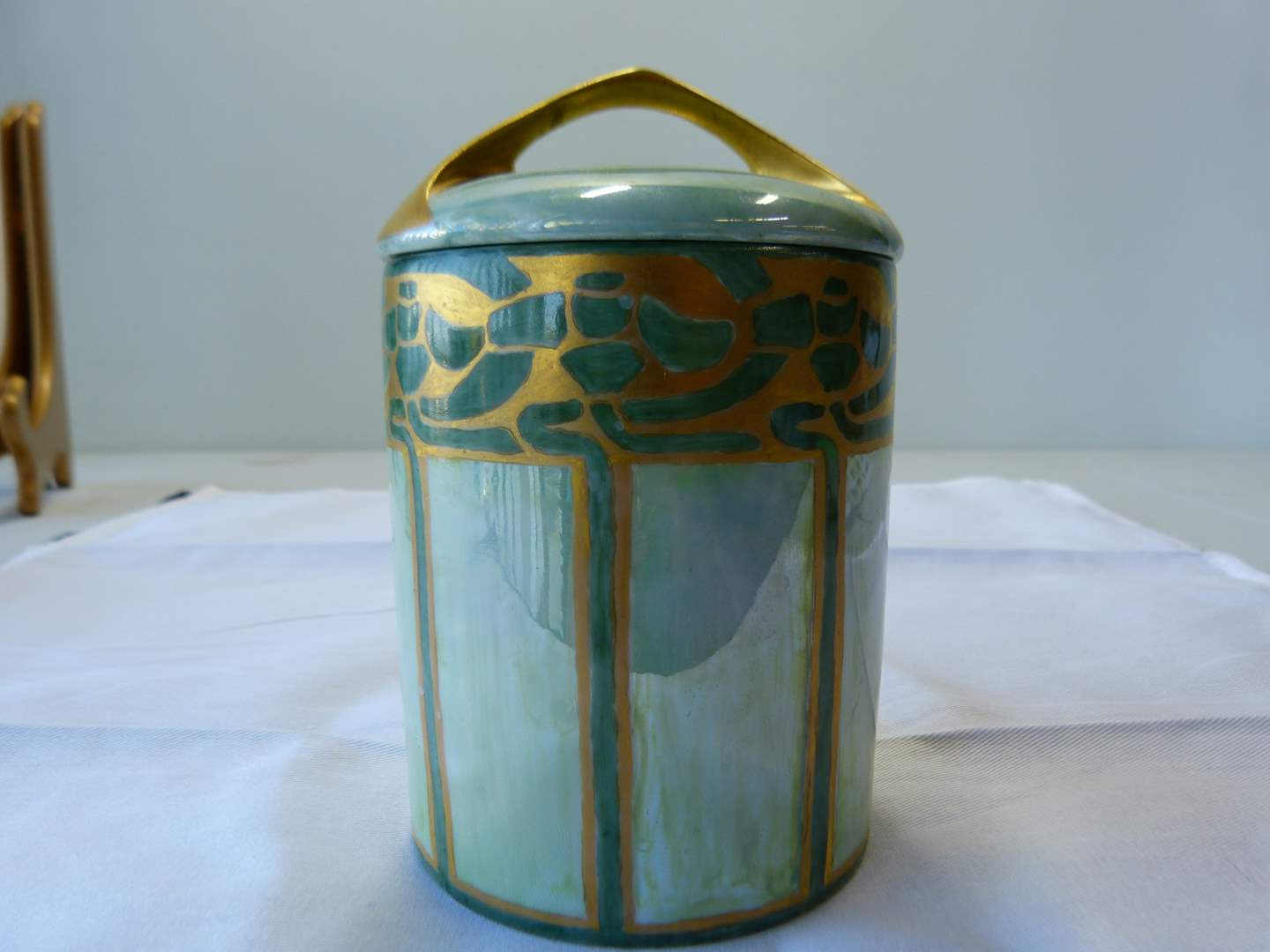 Lot # 21  Antique Rosenthal hand painted hair receiver (main image)