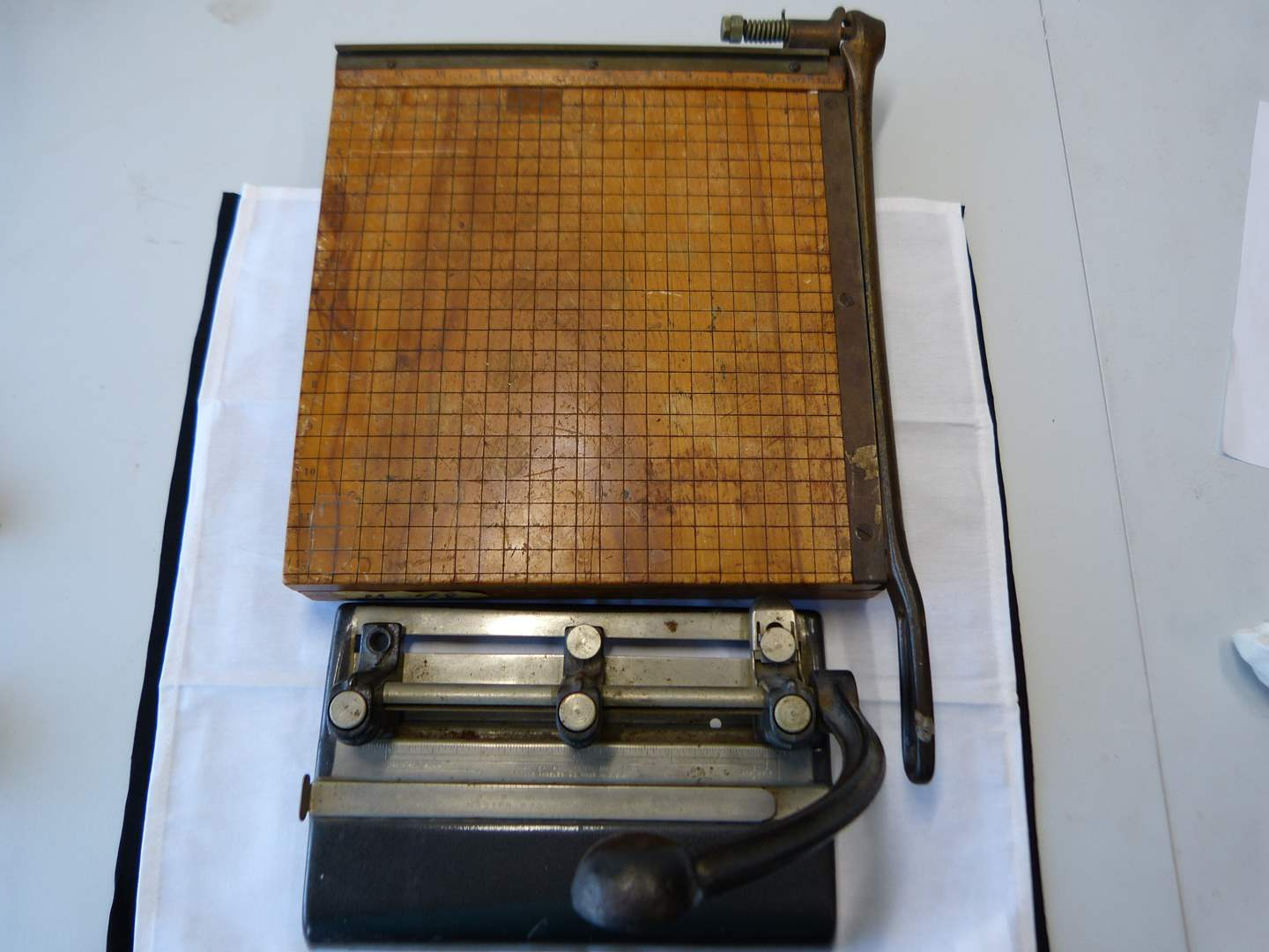 Lot # 23  Vintage paper cutter & hole punch (main image)