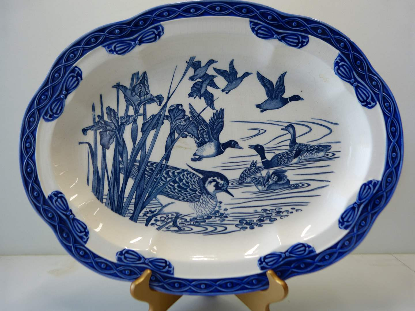 Lot # 32  Fantastic blue & white 14X18 hand painted platter (does have crazing but no breaks cracks etc) (main image)