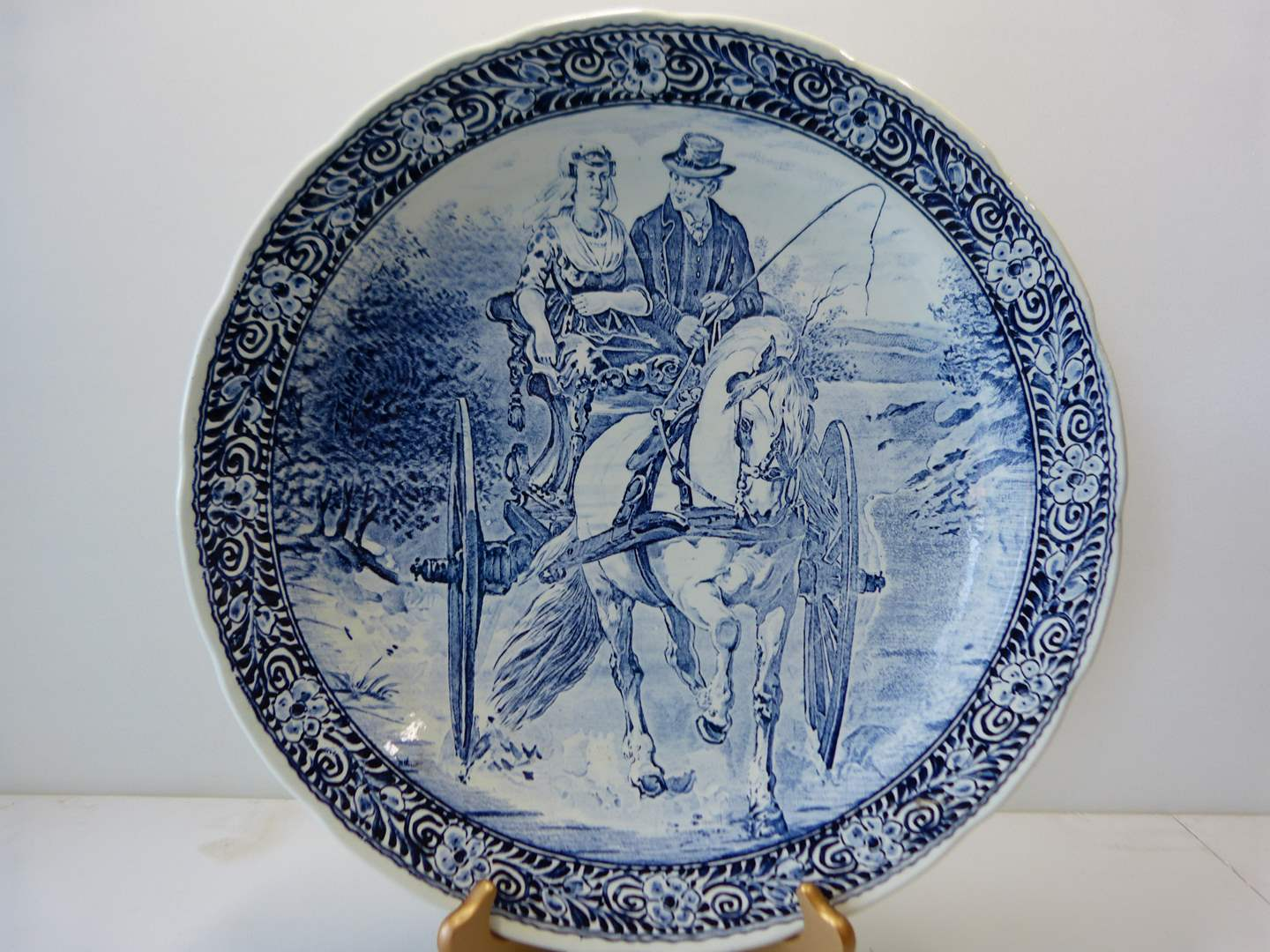 Lot # 33  Made in Belgium REAL DELPH hand painted platter (BOCH) HIGHLY collectible (main image)