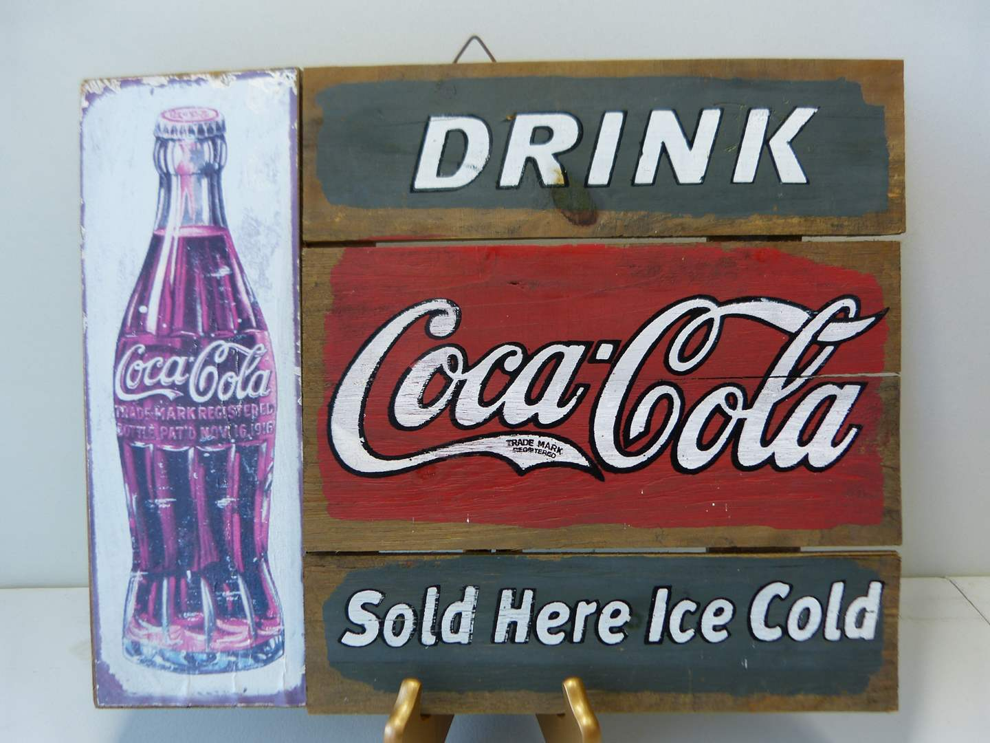 Lot # 36  Nice wood Coca Cola sign (main image)