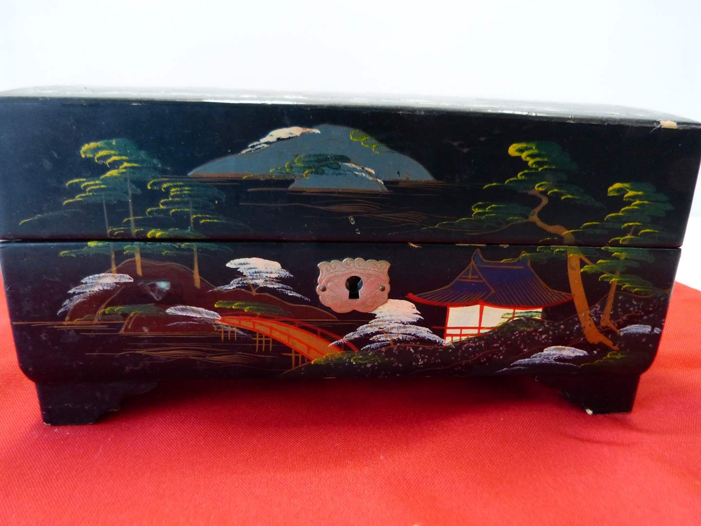 Lot # 37  Great Oriental ballerina ebony mother of pearl musical jewelry box (working) (main image)
