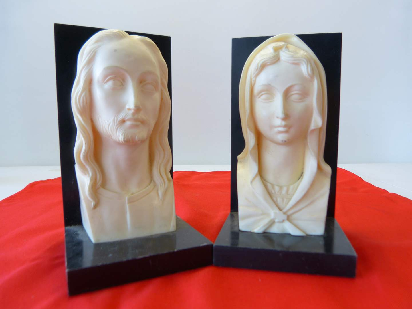 Lot # 48  GREAT Mary & Joseph (ivory style) book ends (these are a GREAT COLLECTIBLE) (main image)