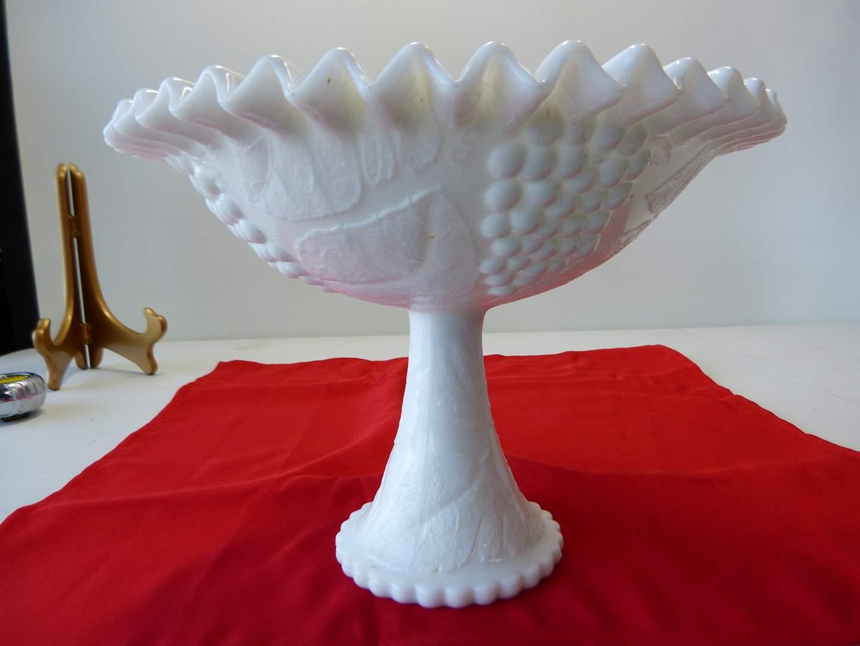 Lot # 51  Fantastic LARGE grape pattern milk glass compote (Fenton-Westmorland?) (main image)