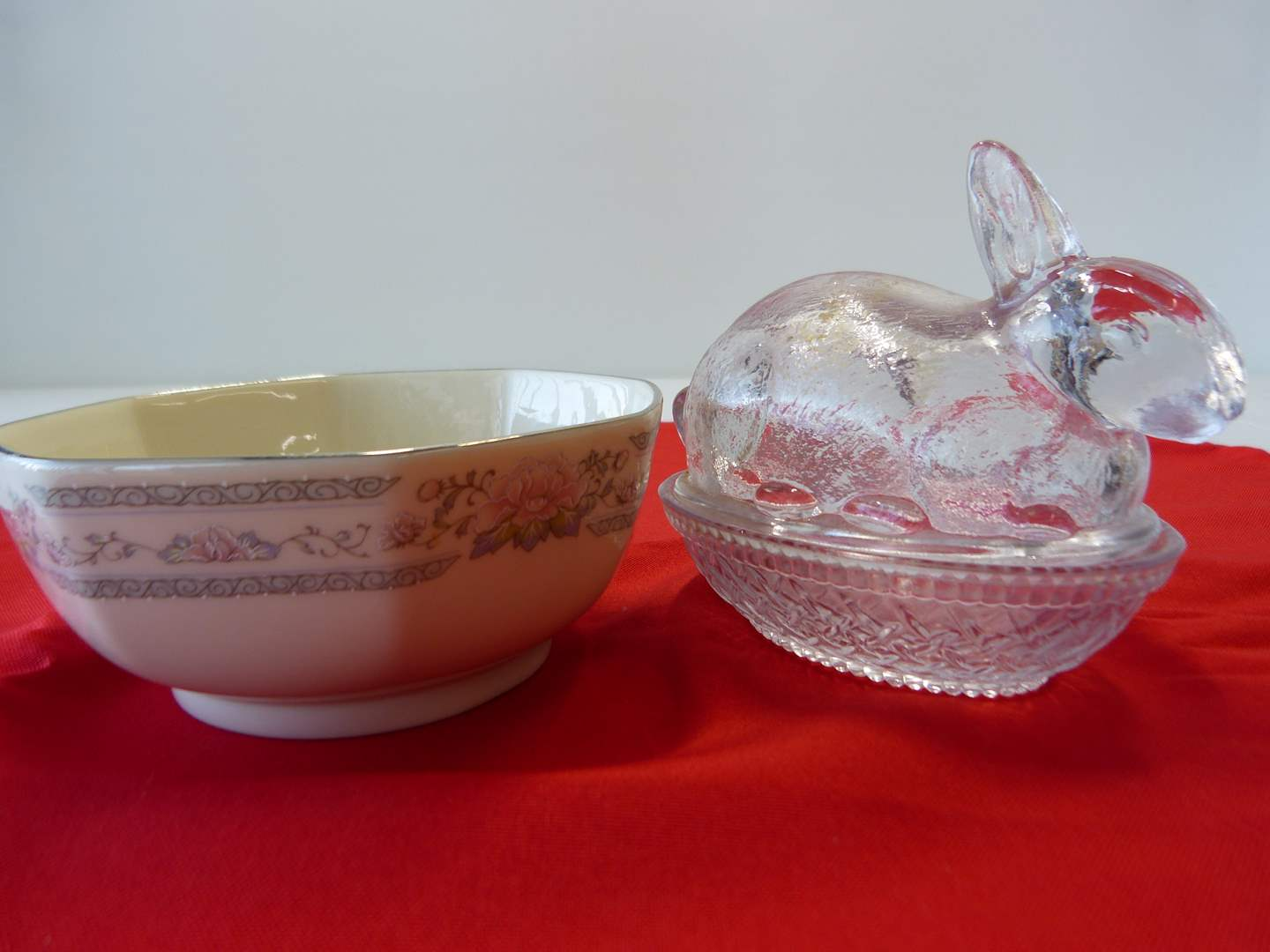 Lot # 60  Great crystal covered bunny with Lenox open dish (main image)