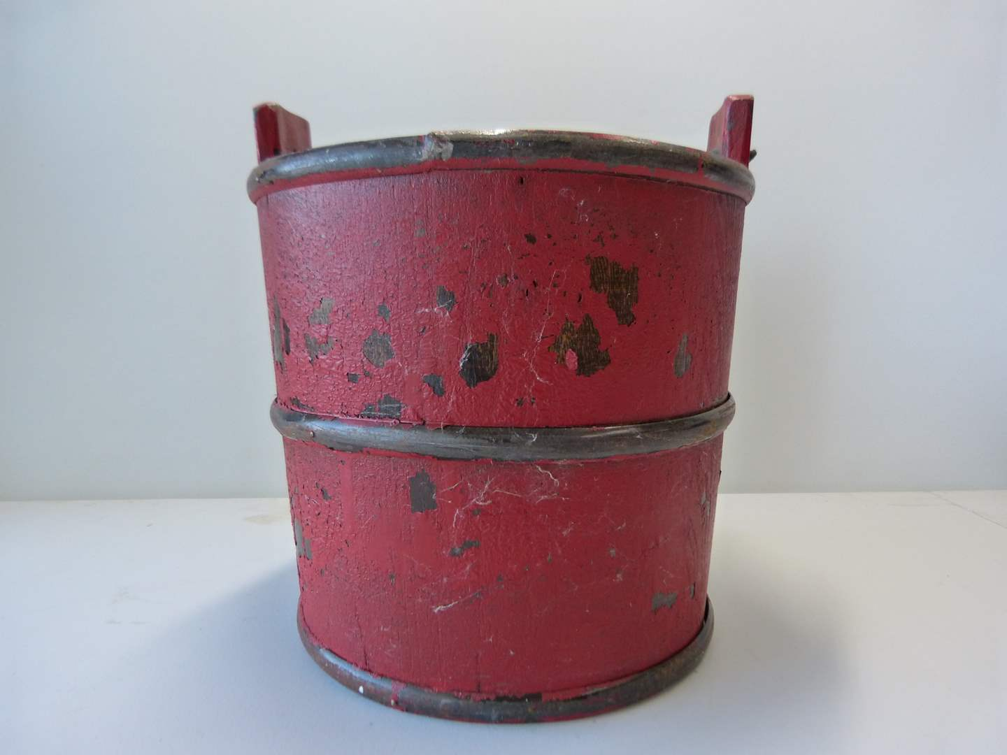 Lot # 66  GREAT primitive hand painted hand made pail with forged wrought iron handle (main image)