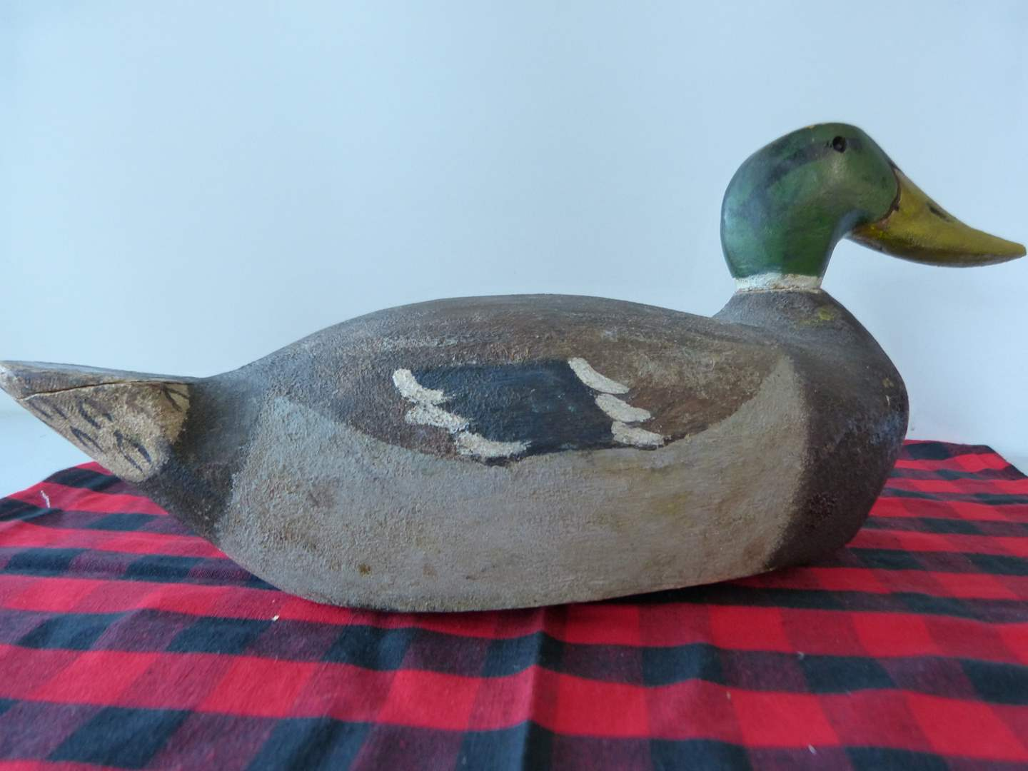 Lot # 69  L@@K!!  Vintage hand painted & signed lead weight duck decoy (tail has been fixed) (main image)