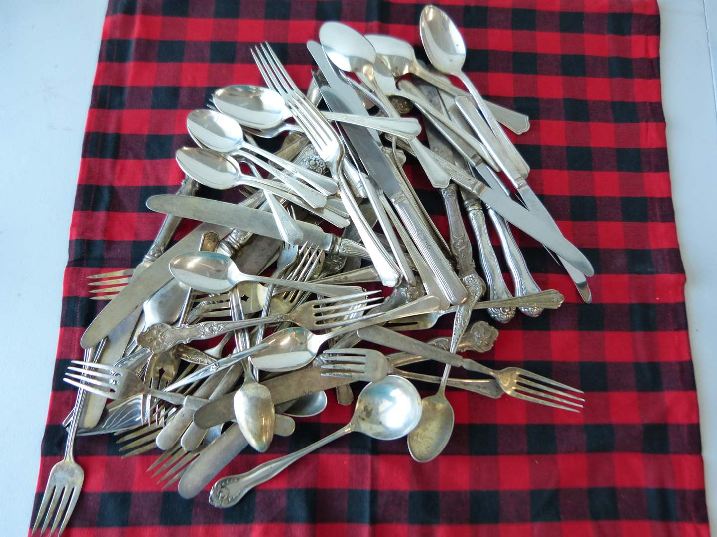 Lot # 73  HUGE collection of vintage mixed silver plate flatware (crafts use re purpose)) (main image)