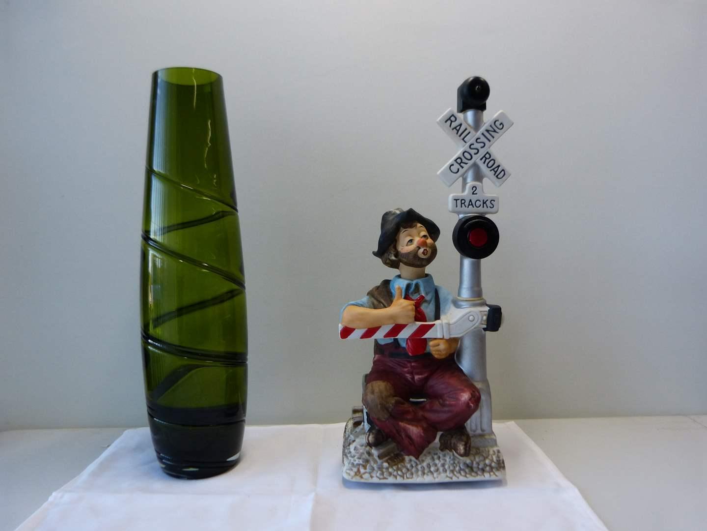 Lot # 93  Tall  green swirl vase & music box clown (not working) (main image)