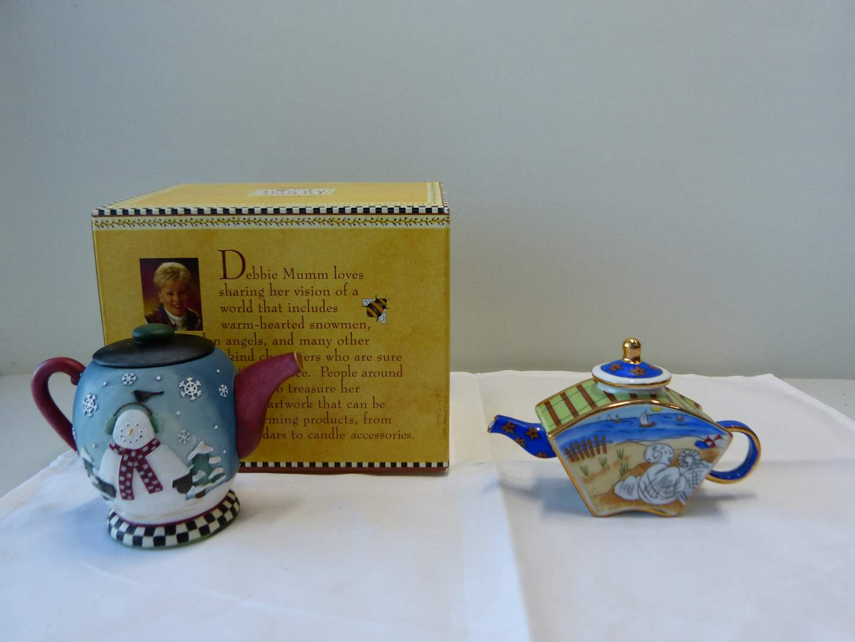 Lot # 94  Great hand painted trinket tea pot & miniature snowman candle holder (main image)