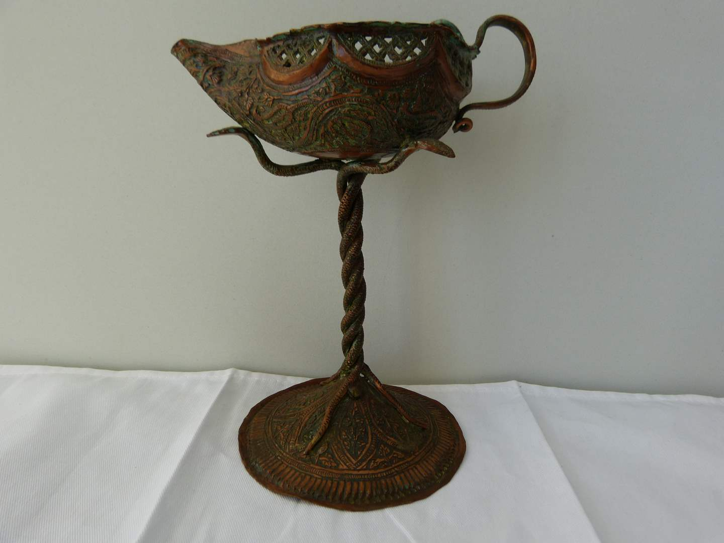Lot # 105  WOW AMAZING hand crafted copper porringer  (main image)