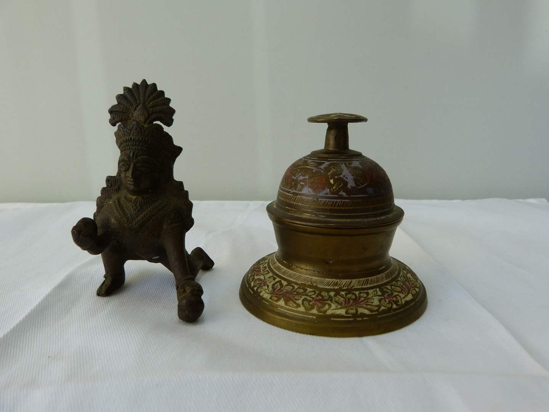 Lot # 107  Great bronze miniature Oriental figure & brass bell (main image)