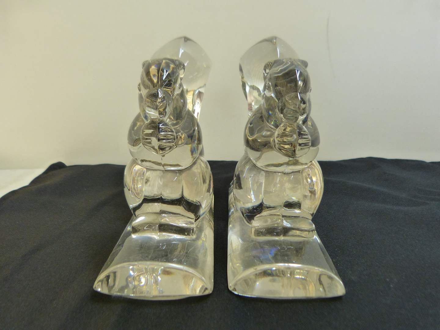 Lot # 143 Great pair of crystal squirrel book ends (very light chip on the base of one) (main image)