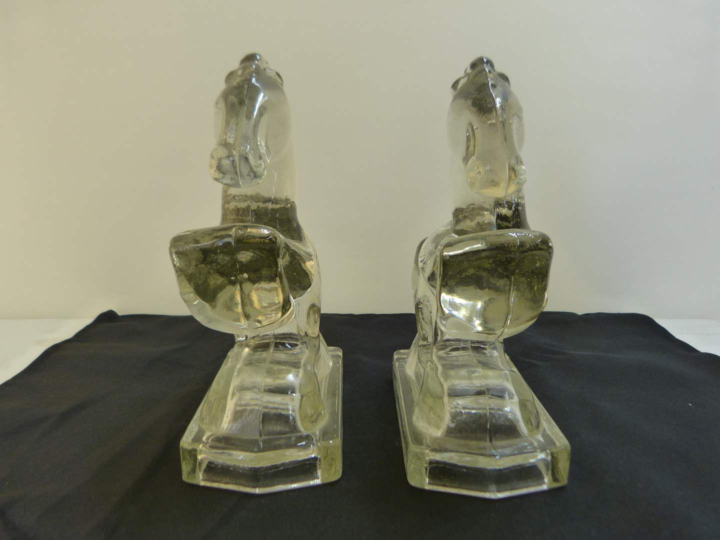 Lot # 145  Crystal pair of horse book ends (perfect condition) (main image)