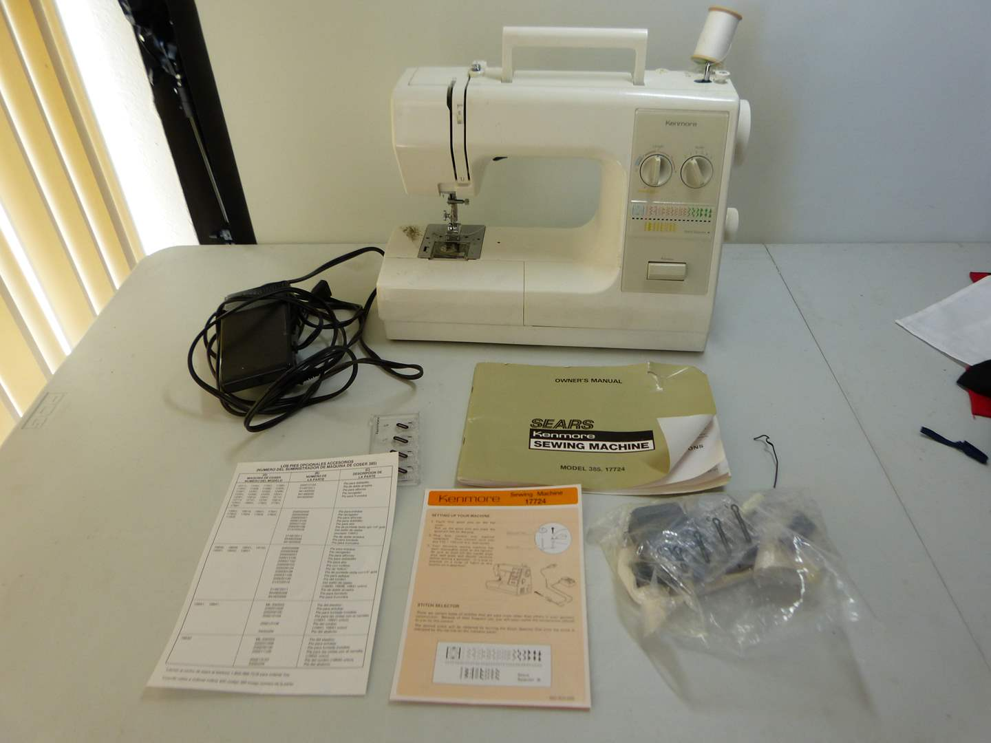 Lot # 149  Vintage Sears Kenmore Model 17724 stitch selector sewing machine (works great) (main image)
