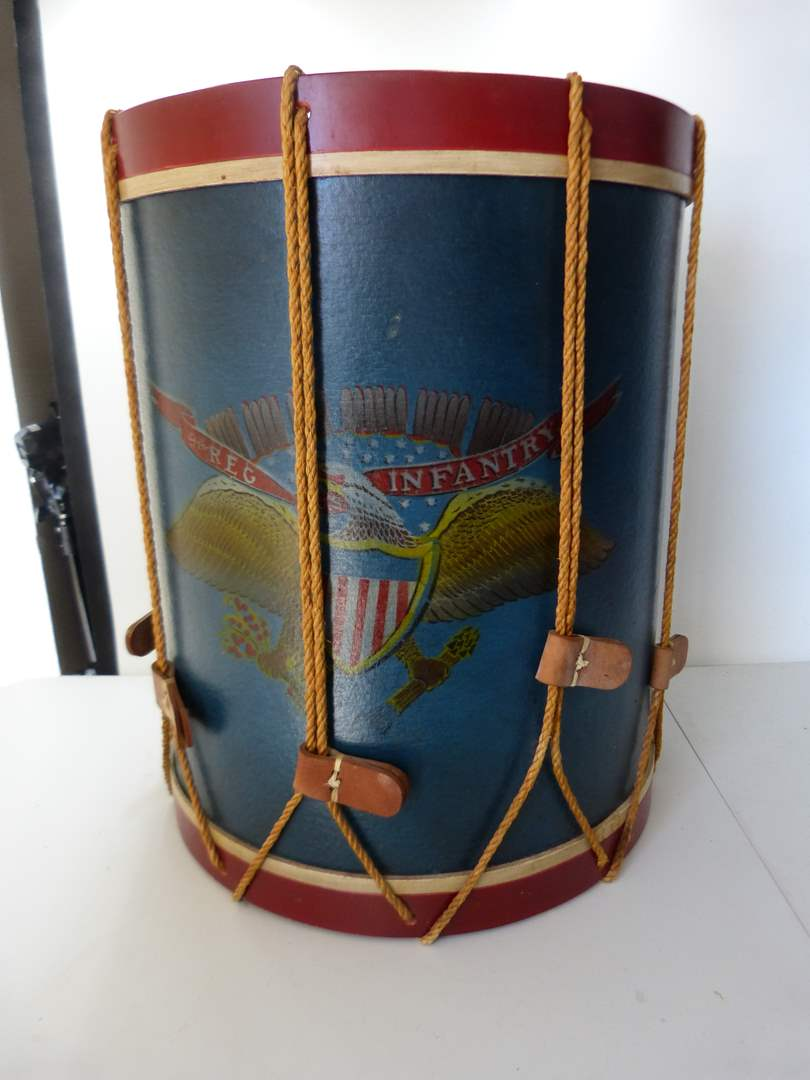 Lot # 163  AWESOME drum table in USA motif (main image)