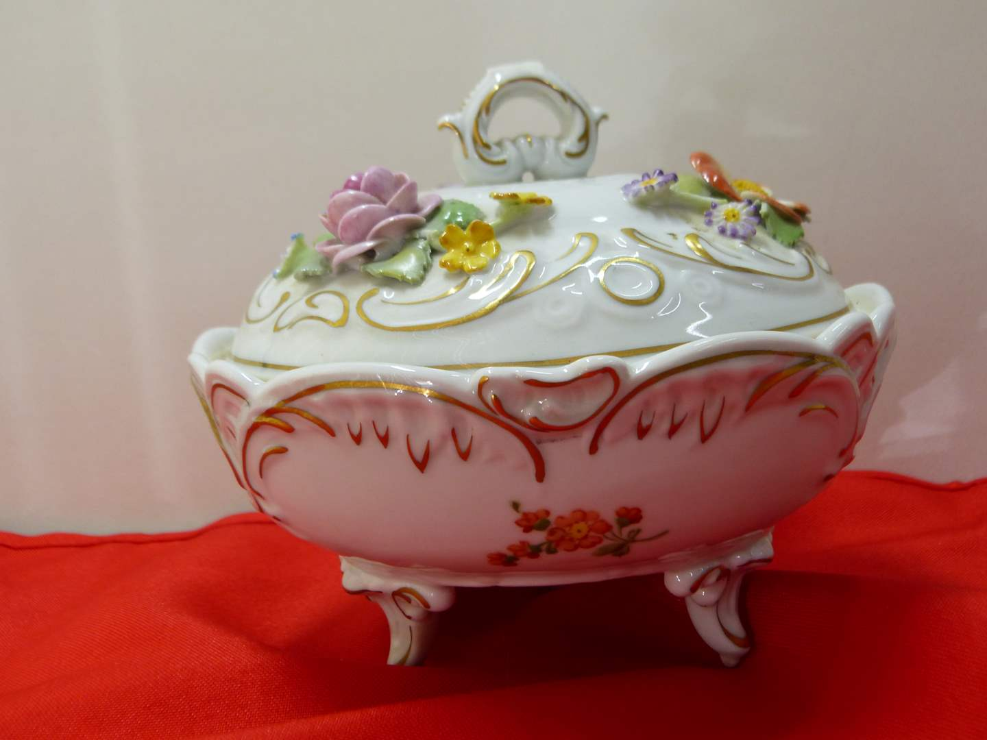 Lot # 173  Beautiful made in Germany hand painted covered dish (a couple light chips on flowers) (main image)