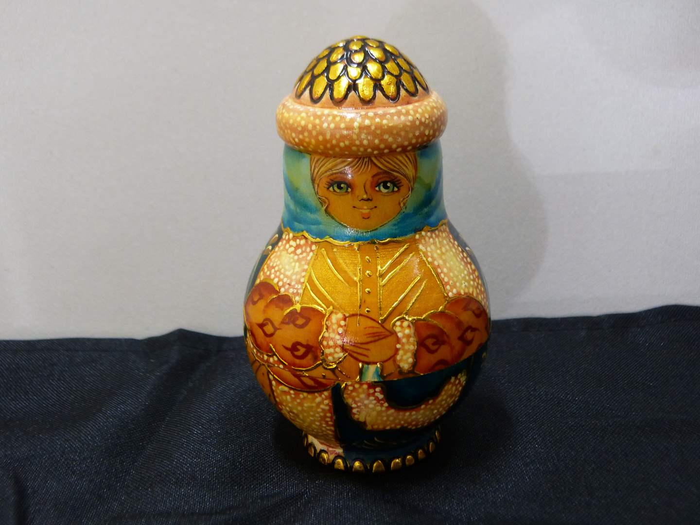 Lot # 174  Made in Russia hand painted nesting holiday doll (main image)