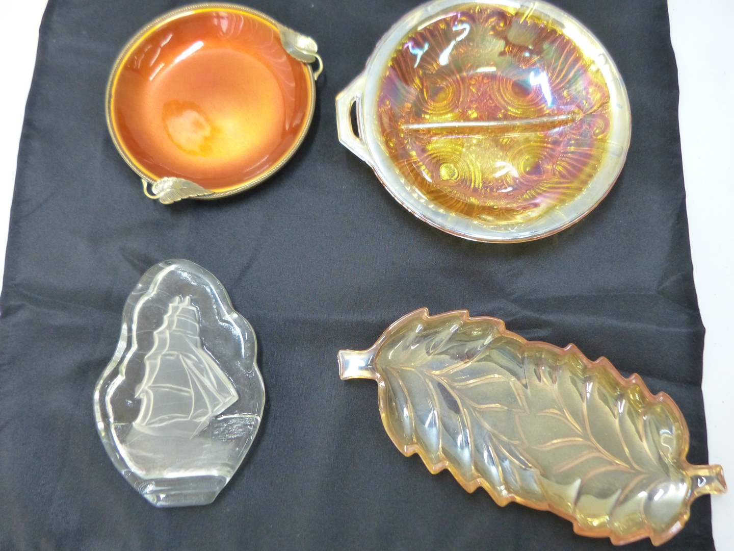 Lot # 185  Nice collection of depression glass amber glass trays and enamel tray (main image)