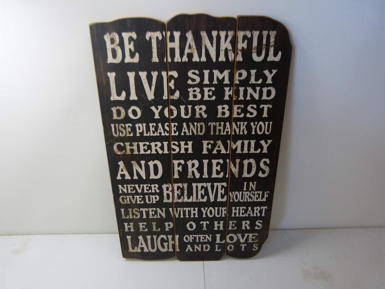 "Lot # 208  Great wall decor ""Be Thankful Live"" (main image)"