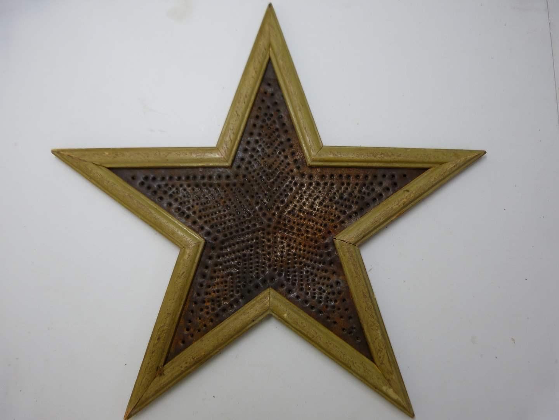 Lot # 210  Tin pierced w/wood trim star (main image)