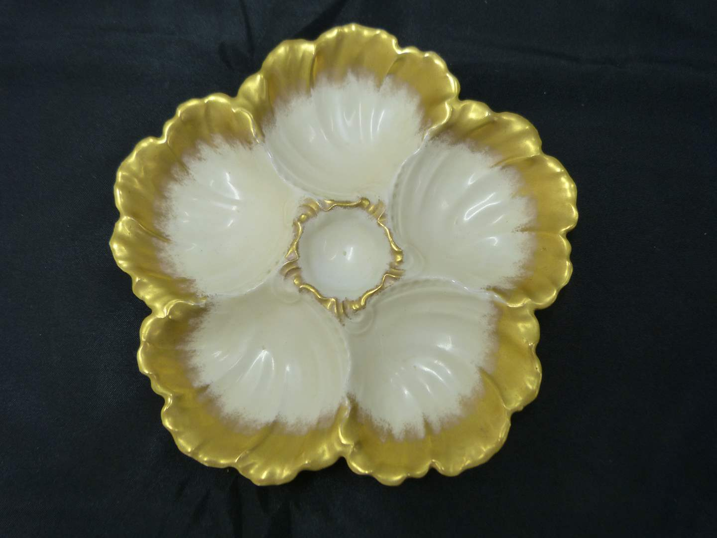 Lot # 222  Fantastic hand painted antique oyster plate (main image)