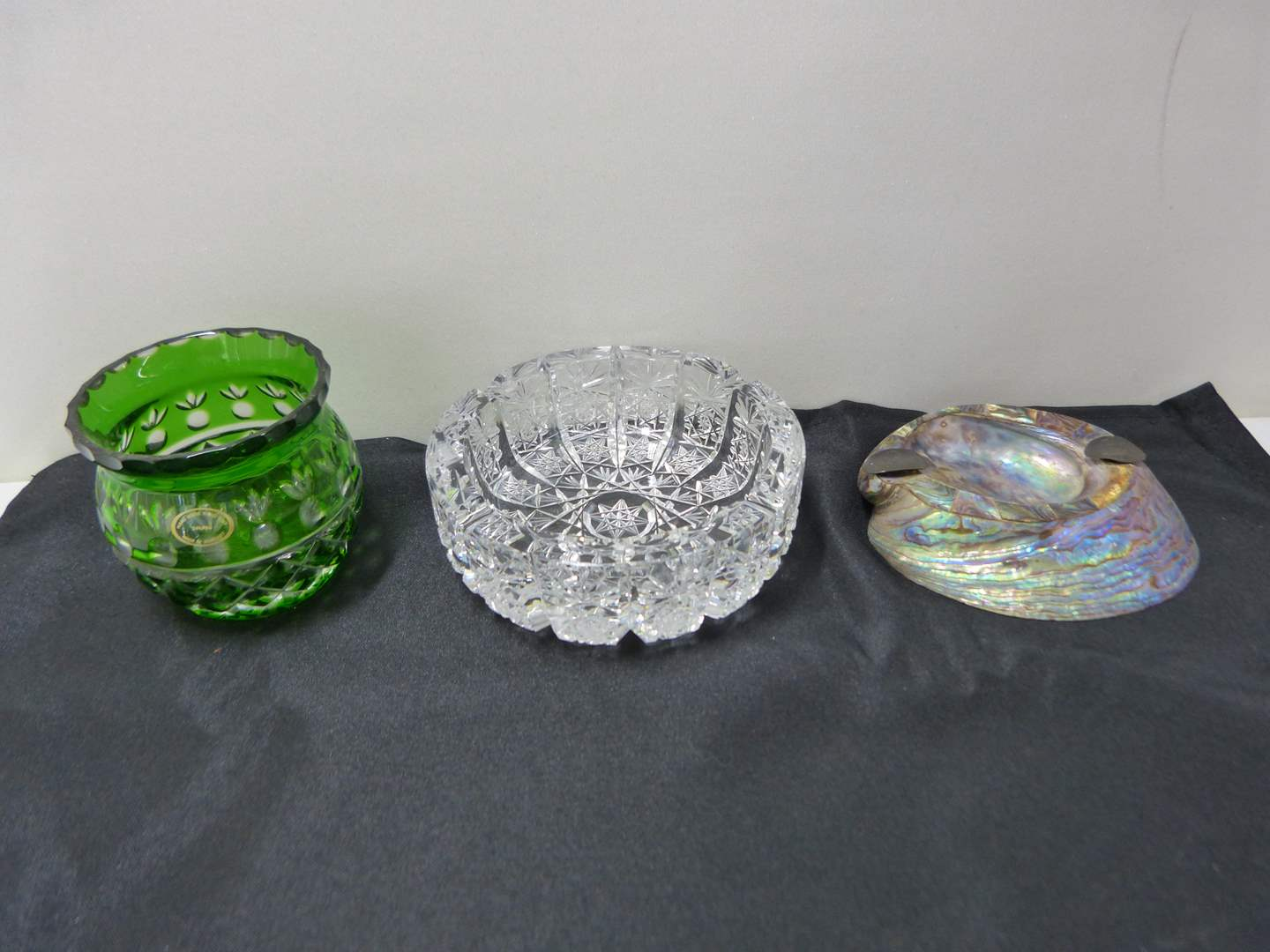 Lot # 234  Lot of collectibles to include abalone & sterling ashtray & Bohemian jar  (main image)