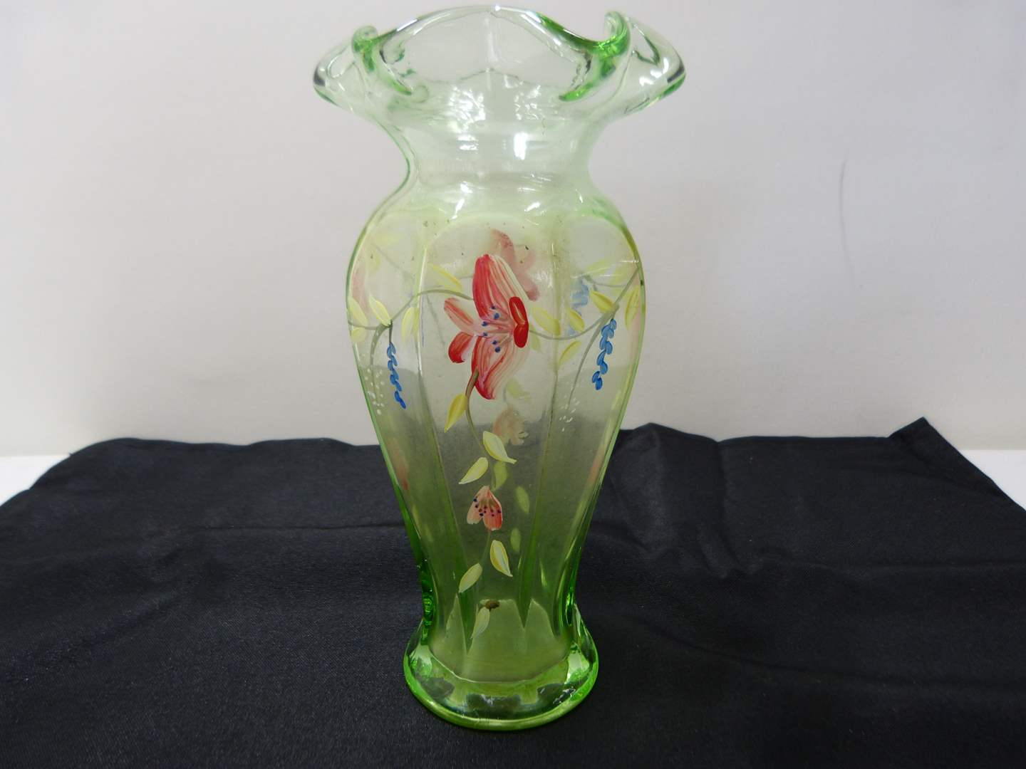 Lot # 238  Hand painted Fenton? green vase (main image)