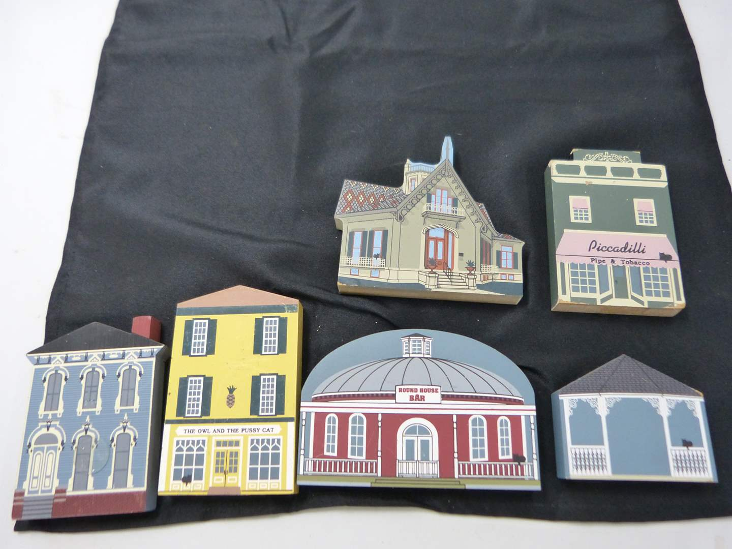 "Lot # 244  Collection of ""Cat's Meow"" hand painted wood buildings)  (main image)"