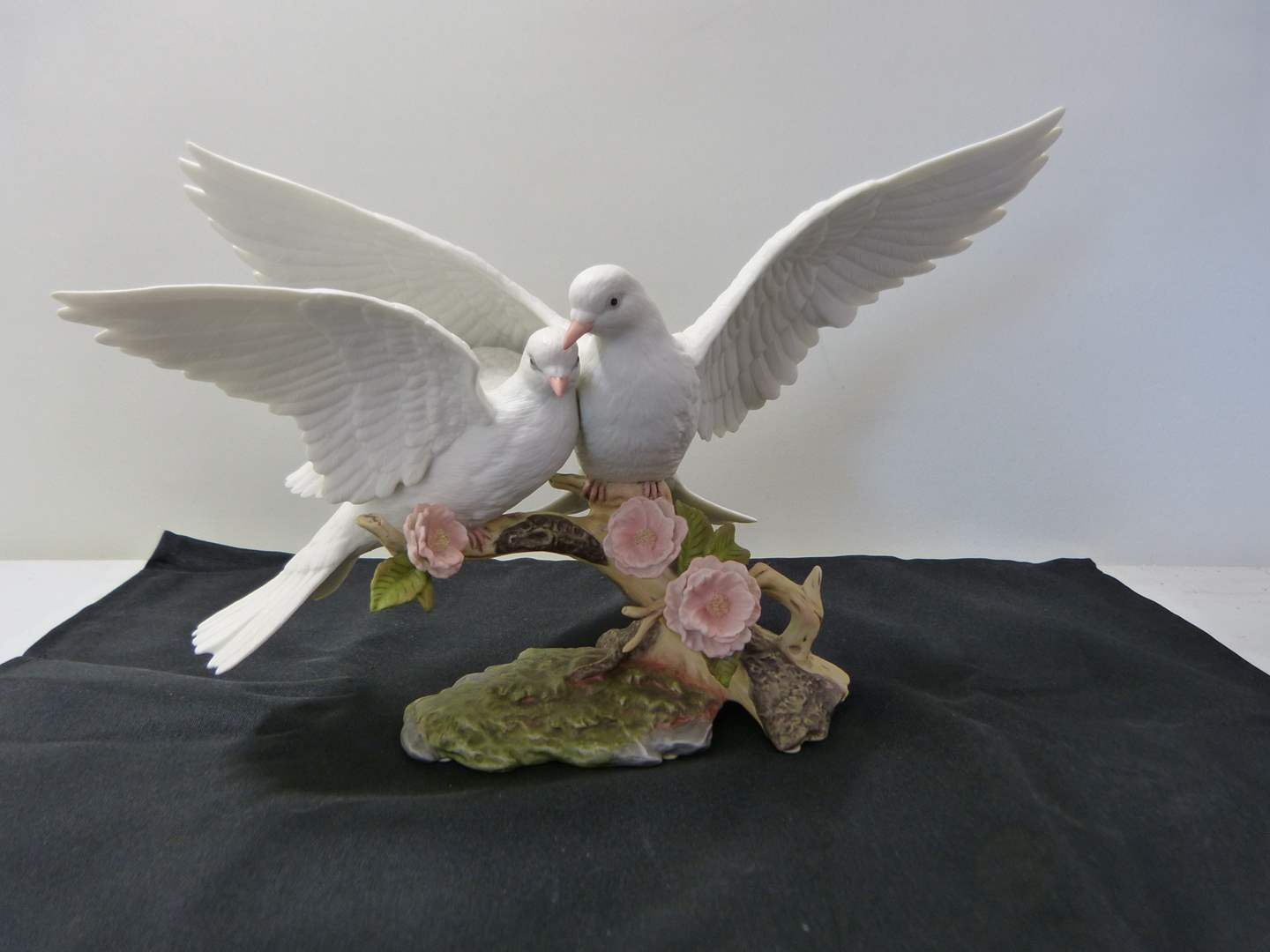 "Lot # 266  ""Wings of Love"" porcelain dove love birds (excellent condition) (main image)"