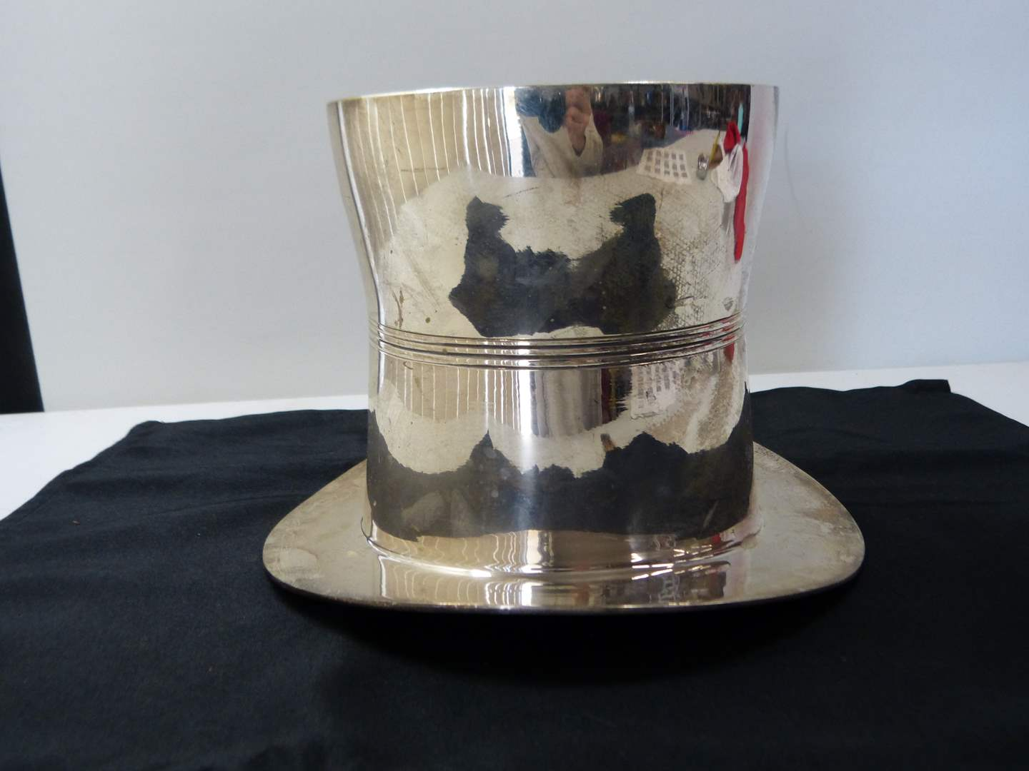 Lot # 281  Silver Plate top hat ice bucket (main image)