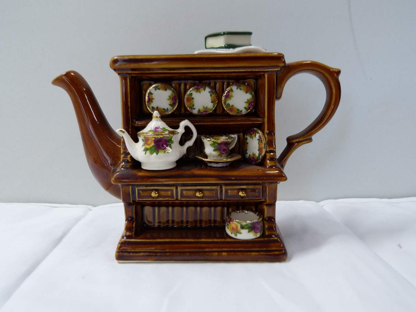Lot # 284  Great miniature Made in England animated teapot (Old Country Rose) (main image)