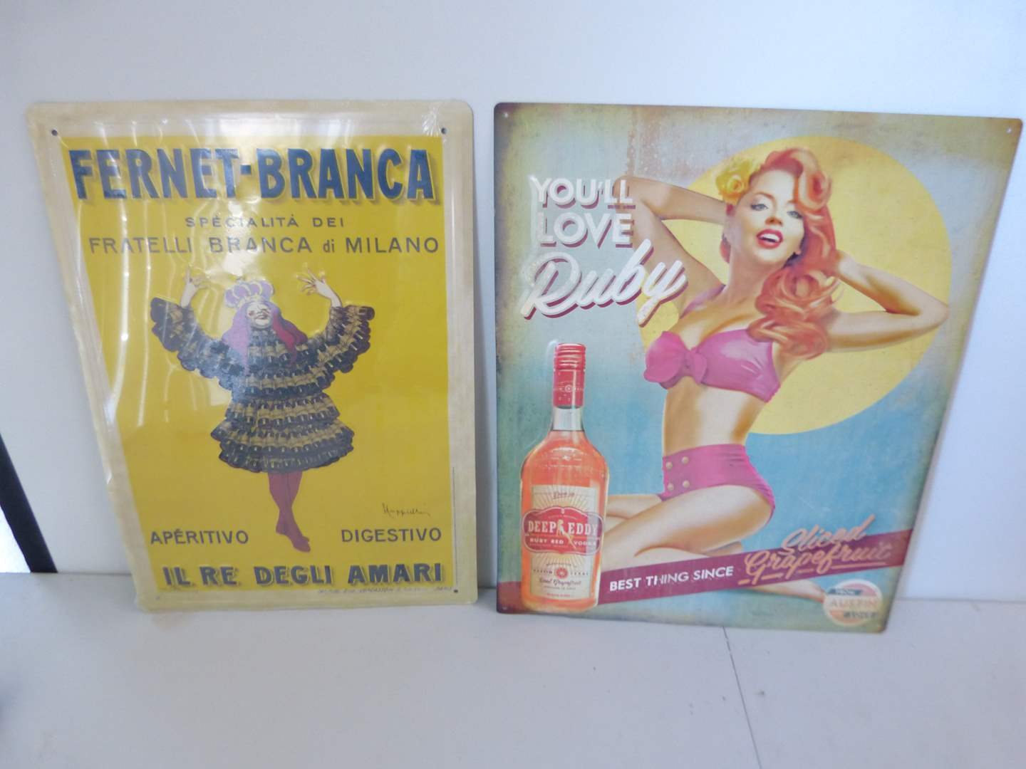 Lot # 289  2 like new condition tin bar signs (main image)
