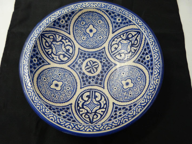 Lot # 293  Beautiful stoneware hand painted bowl (chip on base) (main image)
